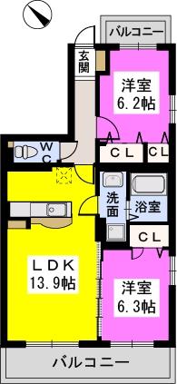 プライムコート大野城 / Ⅱ201号室間取り