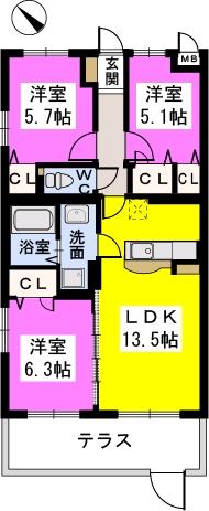 プライムコート大野城 / Ⅲ103号室間取り