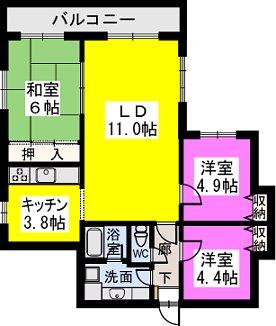 ロマネスク春日原 / 605号室間取り