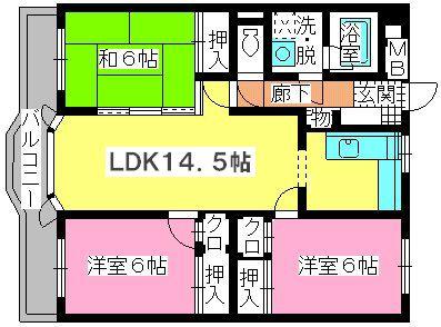 ローヤルマンション野間Ⅱ / 203号室間取り