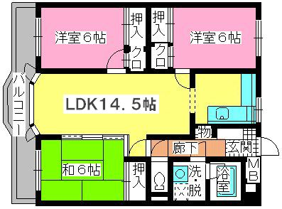 ローヤルマンション野間Ⅱ / 302号室間取り
