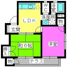 パークハイツ三宅 / 101号室間取り
