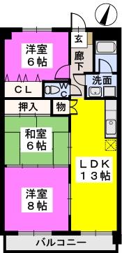 クレストG34 / 702号室間取り