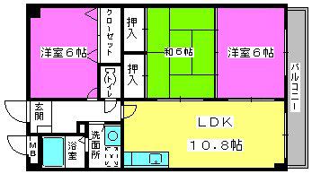 ルミエール板付 / 402号室間取り