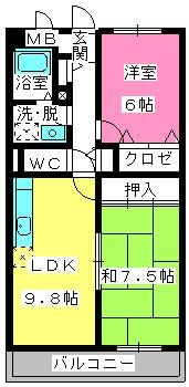 アバンダントTOU / 203号室間取り