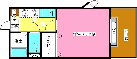 ドルフィン・ブルー / 105号室間取り
