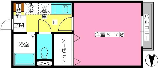 ドルフィン・ブルー / 202号室間取り