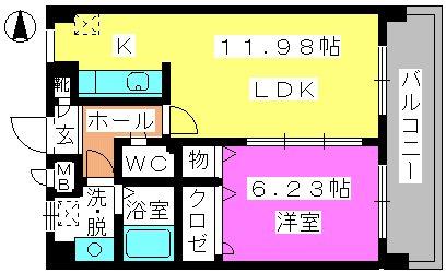 イング大橋南 / 203号室間取り