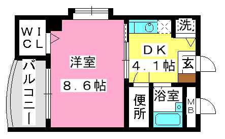 Flowery21 / 403号室間取り