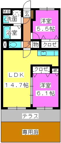 グランデュール シャトー / A-102号室間取り