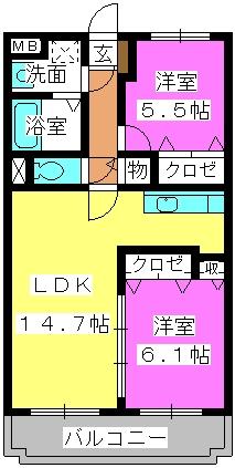 グランデュール シャトー / A-305号室間取り