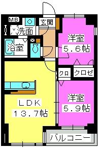 アヴァンティ緑ヶ丘 / 201号室間取り