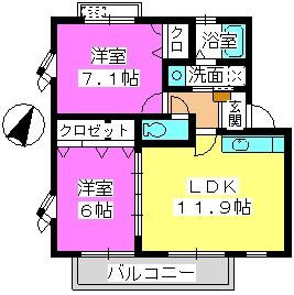 U.ZハイツⅡ / 201号室間取り