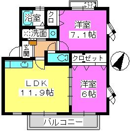 U.ZハイツⅡ / 202号室間取り