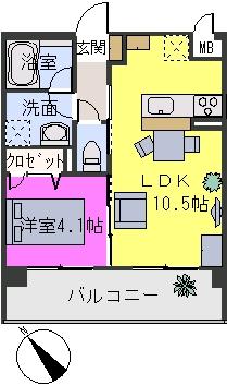 アバンダントsanchiku / 201号室間取り