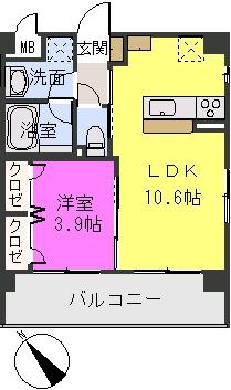 アバンダントsanchiku / 406号室間取り