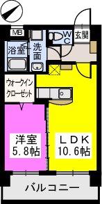 Court Midi / 202号室間取り