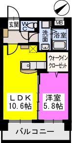 Court Midi / 403号室間取り