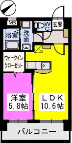 Court Midi / 702号室間取り