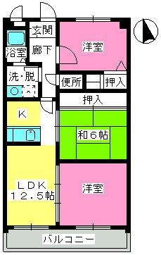 井尻第3ビル / 601号室間取り