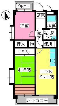 井尻第3ビル / 305号室間取り