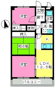 井尻第3ビル / 602号室間取り