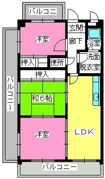 井尻第3ビル / 603号室間取り