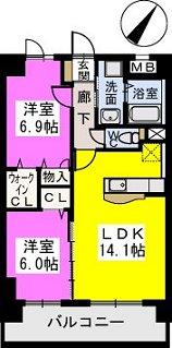 イーストパル博多Ⅱ / 602号室間取り