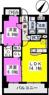 イーストパル博多Ⅱ / 703号室間取り