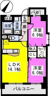 イーストパル博多Ⅱ / 1001号室間取り