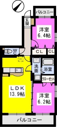 ソシアルーチェ / 201号室間取り