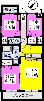 ソシアルーチェ / 203号室間取り