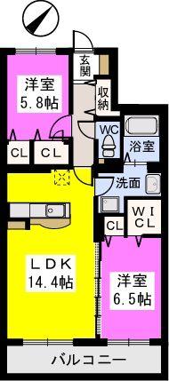 ソシアルーチェ / 402号室間取り