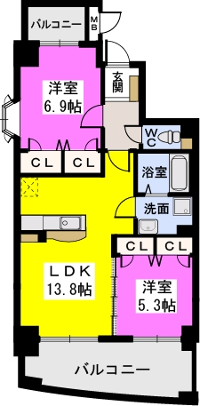 ルグラン博多駅南 / 501号室間取り