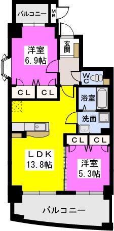 ルグラン博多駅南 / 701号室間取り