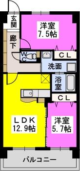 コンコルディア / 202号室間取り