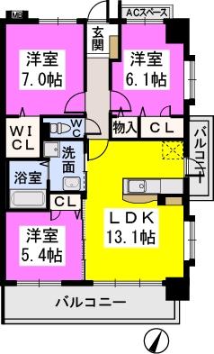 コンフォート・レジデンス / 405号室間取り