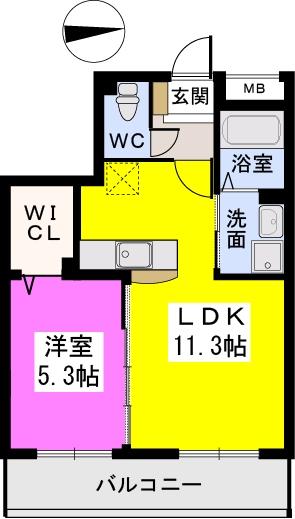 フィオーレ大橋 / 402号室間取り