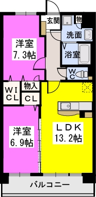 オリオン3(ペット可) / 402号室間取り