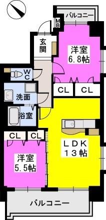 シャトーポルターダ博多南 / 601号室間取り