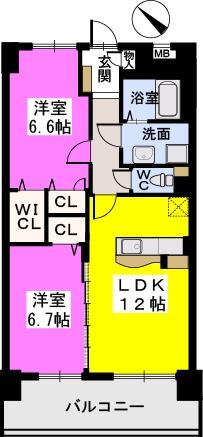 シャトーポルターダ博多南 / 702号室間取り