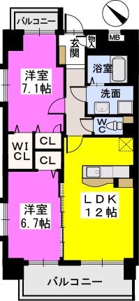 シャトーポルターダ博多南 / 703号室間取り