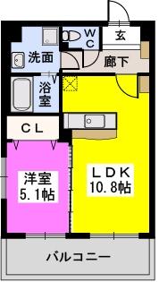 ニーム若久(ペット可) / 203号室間取り