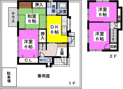 渡辺貸家 / 2号号室間取り