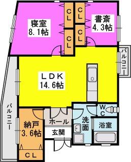 渡辺貸家 / 9号号室間取り
