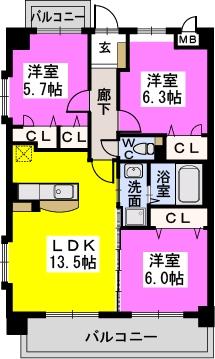 プレミールM / 305号室間取り
