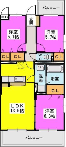プレジデント正弥博多 / 405号室間取り