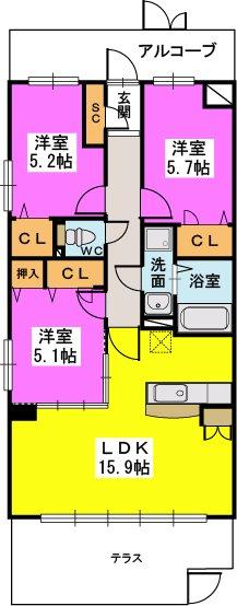 プラス カナール / 201号室間取り