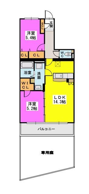 ラ・エクラン / 102号室間取り