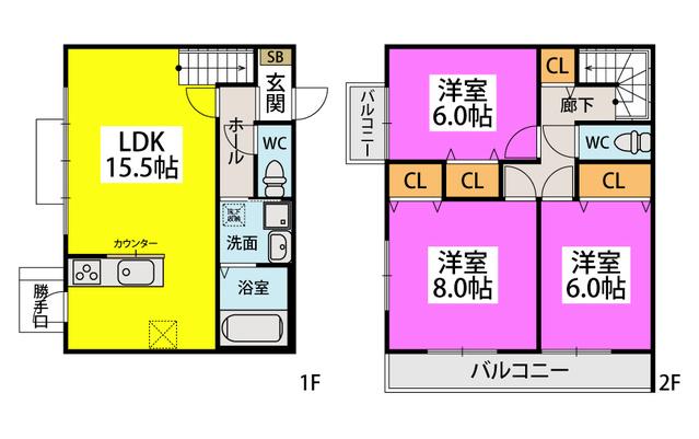 メゾングレイス / 203号室間取り
